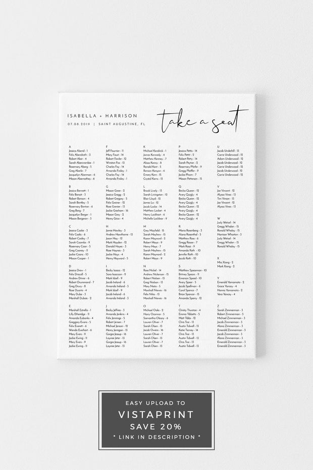 Adella - Modern Minimalist Wedding Portrait Alphabetical Seating Chart Template - Unmeasured Events
