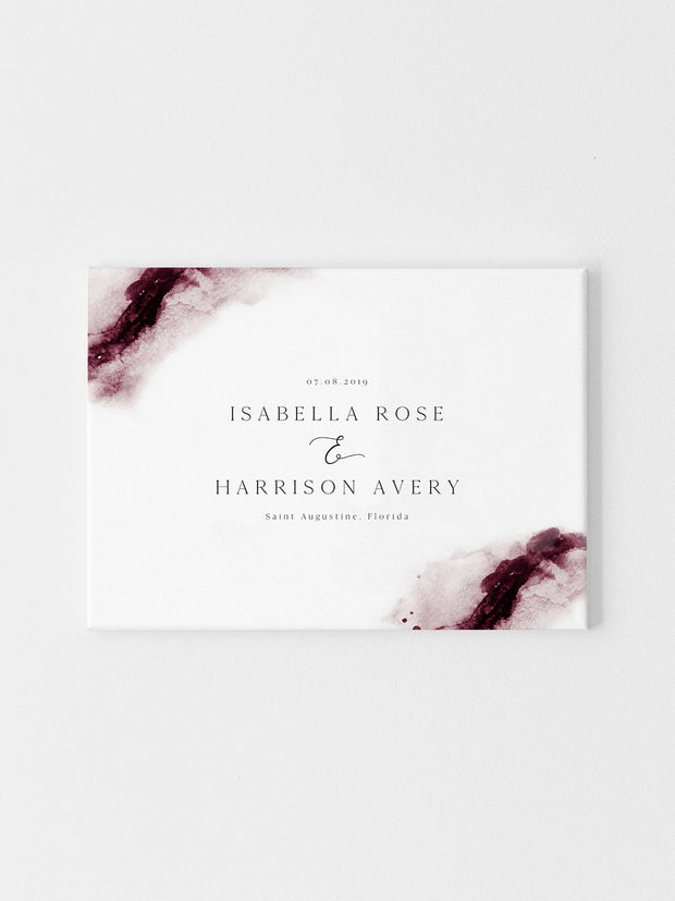 Scarlett - Abstract Burgundy Watercolor Wedding Welcome Sign Template - Unmeasured Events