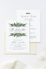 Lana - Greenery Bachelorette Invitation and Itinerary Template - Unmeasured Events