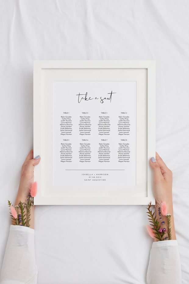 Adella - Modern Minimalist Wedding Small Seating Chart Template