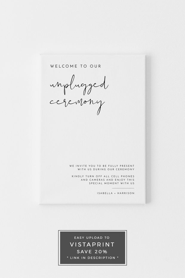 ADELLA | Minimalist Wedding Unplugged Ceremony Sign Template