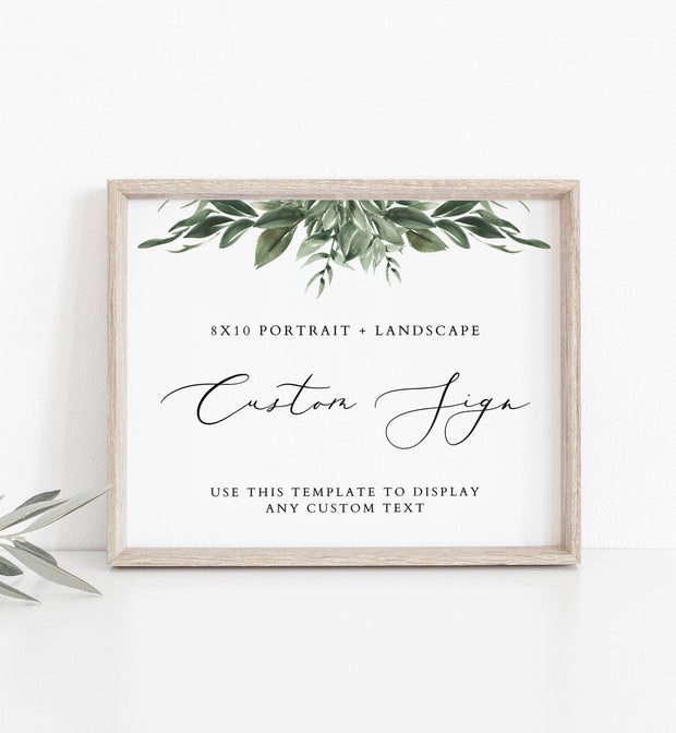 "Lana - Modern Greenery Custom 8x10"" Wedding Sign Template - Unmeasured Events"
