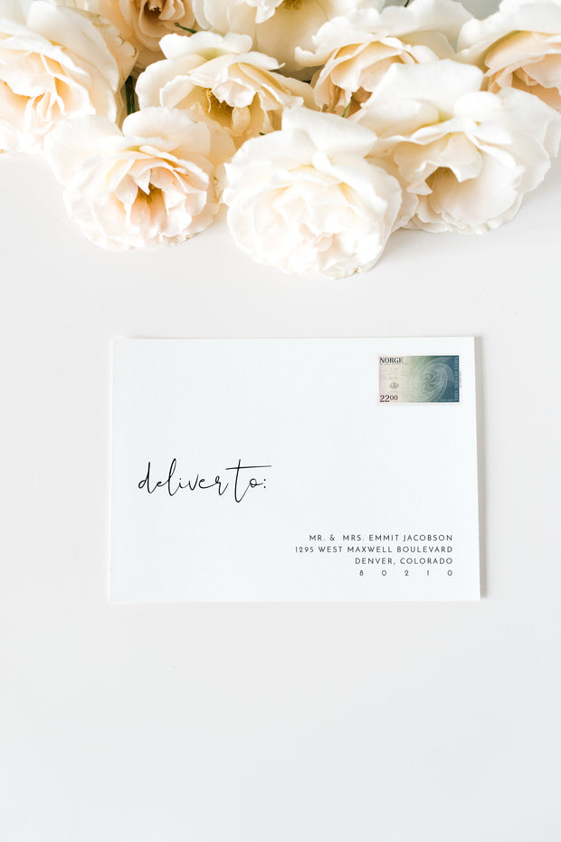 Adella - Modern Minimalist Wedding Envelope Addressing Template - Unmeasured Events