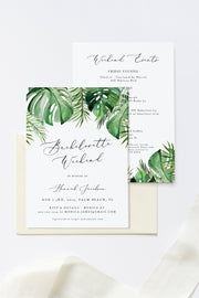 Cora - Modern Palm Tropical Bachelorette Invitation & Timeline Template - Unmeasured Events