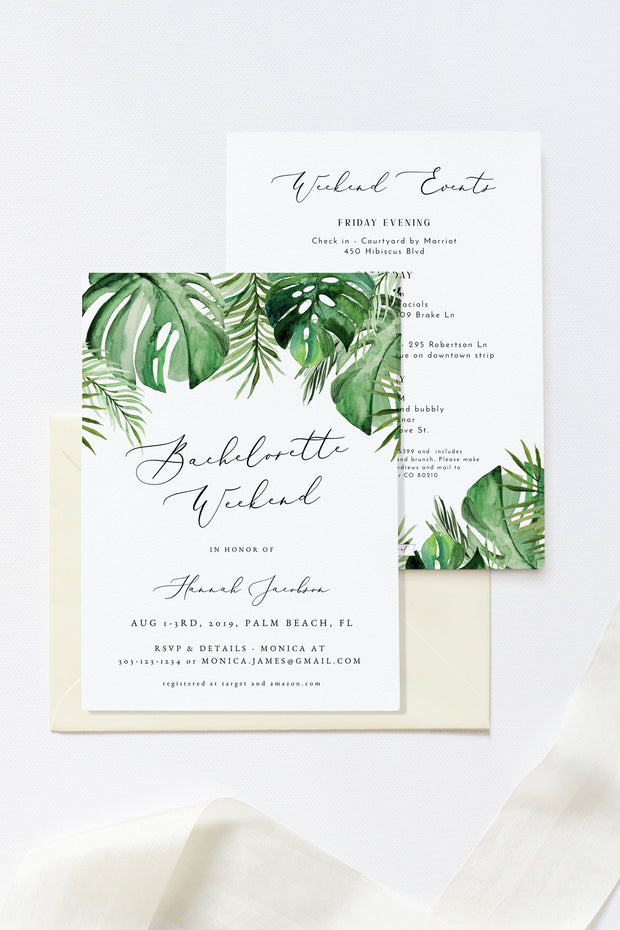 Cora - Modern Palm Tropical Bachelorette Invitation & Timeline Template