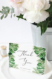 Cora - Modern Palm Tropical Thank You Card Template - Unmeasured Events