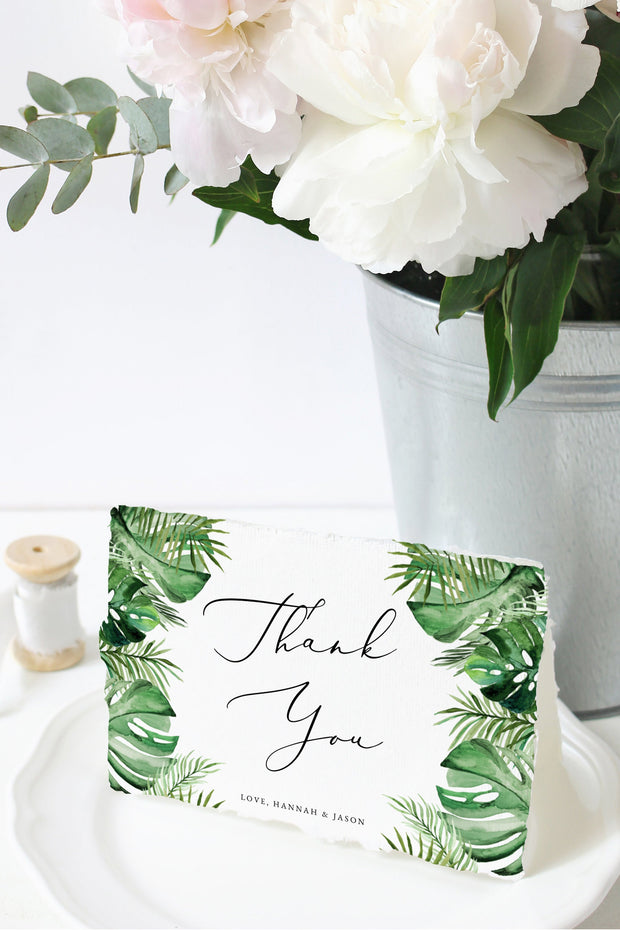 Cora - Modern Palm Tropical Thank You Card Template
