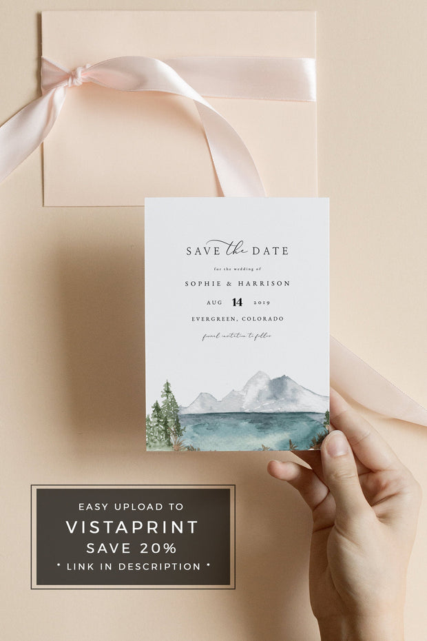 Clover - Mountain Lake Wedding Save the Date Template - Unmeasured Events