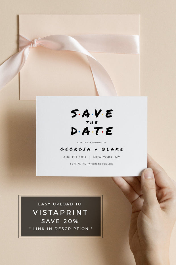Rachel - Modern Friend Themed Wedding Save the Date Template - Unmeasured Events