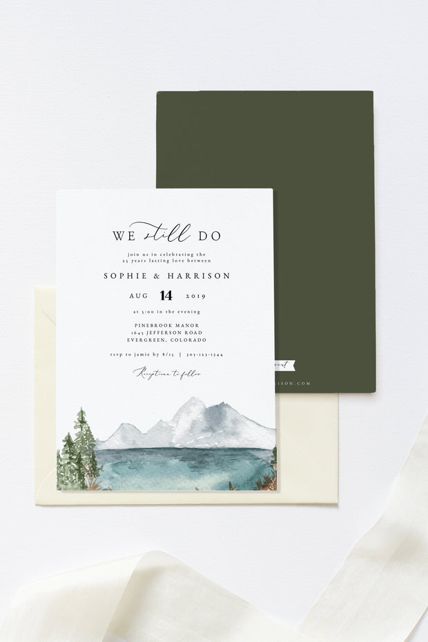 Clover - Mountain Lake Vow Renewal Invitation Template - Unmeasured Events