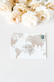 Carmen - Watercolor Map Destination Wedding Envelope Addressing Template