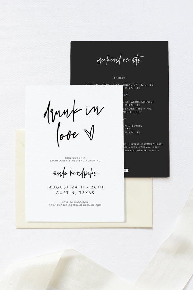 Marlo - Bold Contemporary Drunk In Love Bachelorette Party Invitation & Itinerary Template