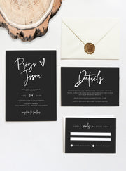 Priya - Black Contemporary Wedding Invitation Template Suite Instant Download