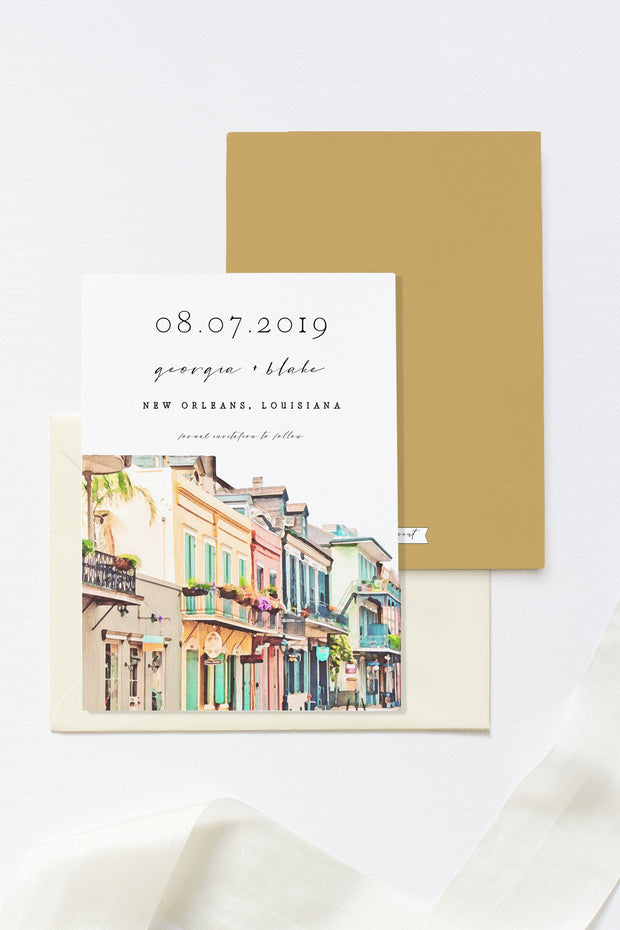 Nola - Watercolor New Orleans French Quarter Save the Date Template - Unmeasured Events