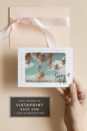 Sophia - Tropical Watercolor Destination Save the Date Template