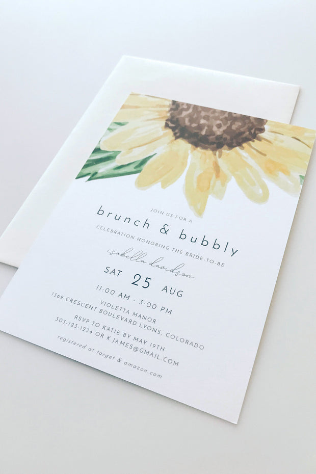 Emma - Rustic Sunflower Bridal Shower Invitation Template - Unmeasured Events