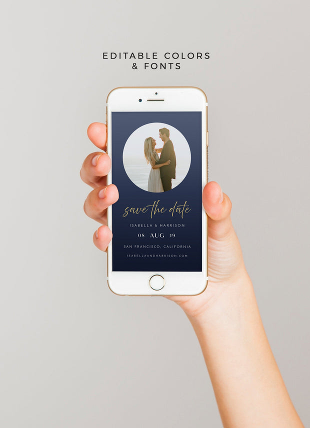 Zara - Minimalist Photo Wedding Save the Date Text Evite Template