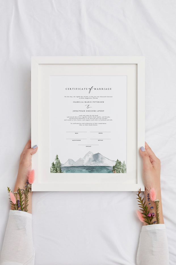Clover - Mountain Lake Wedding Marriage Certificate Template - Unmeasured Events