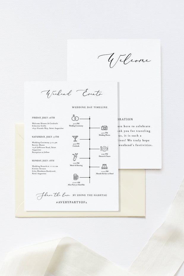 Evelyn - Elegant Minimal Wedding Welcome Note and Timeline Template - Unmeasured Events