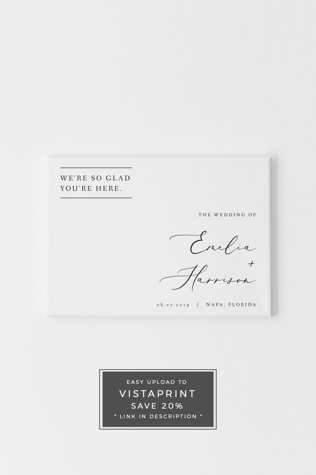 Evelyn - Elegant Minimal Wedding Horizontal Welcome Sign Template
