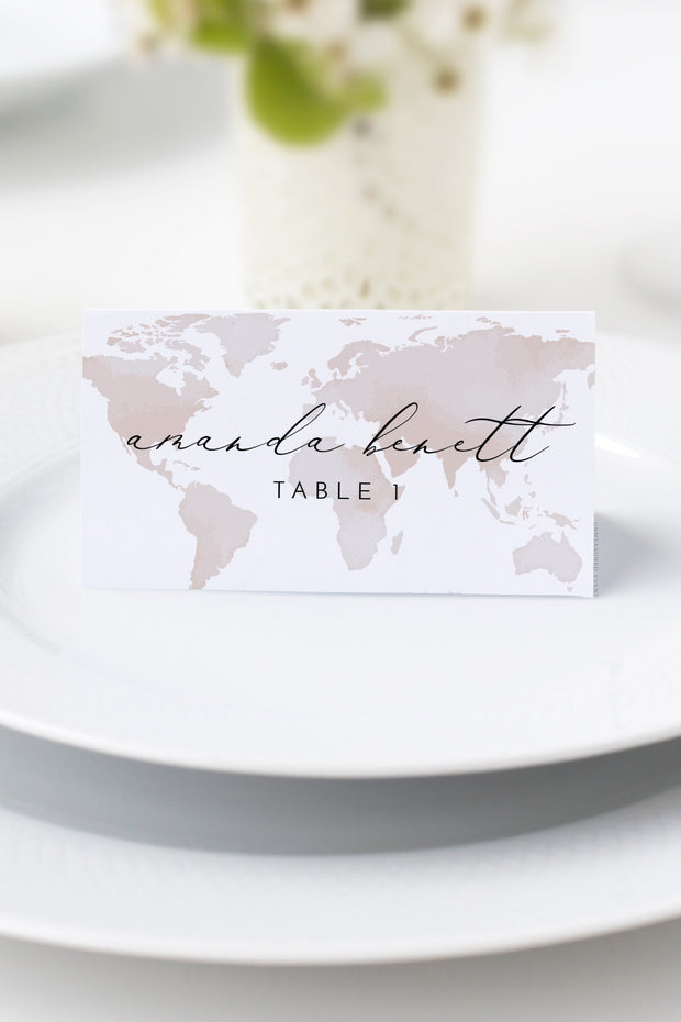 Carmen - Watercolor Map Destination Wedding Place Card Template