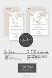Carmen - Watercolor Map Destination Wedding Menu Template