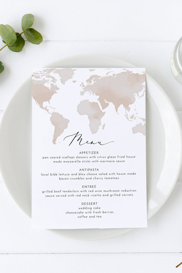 Carmen - Watercolor Map Destination Wedding Menu Template - Unmeasured Events
