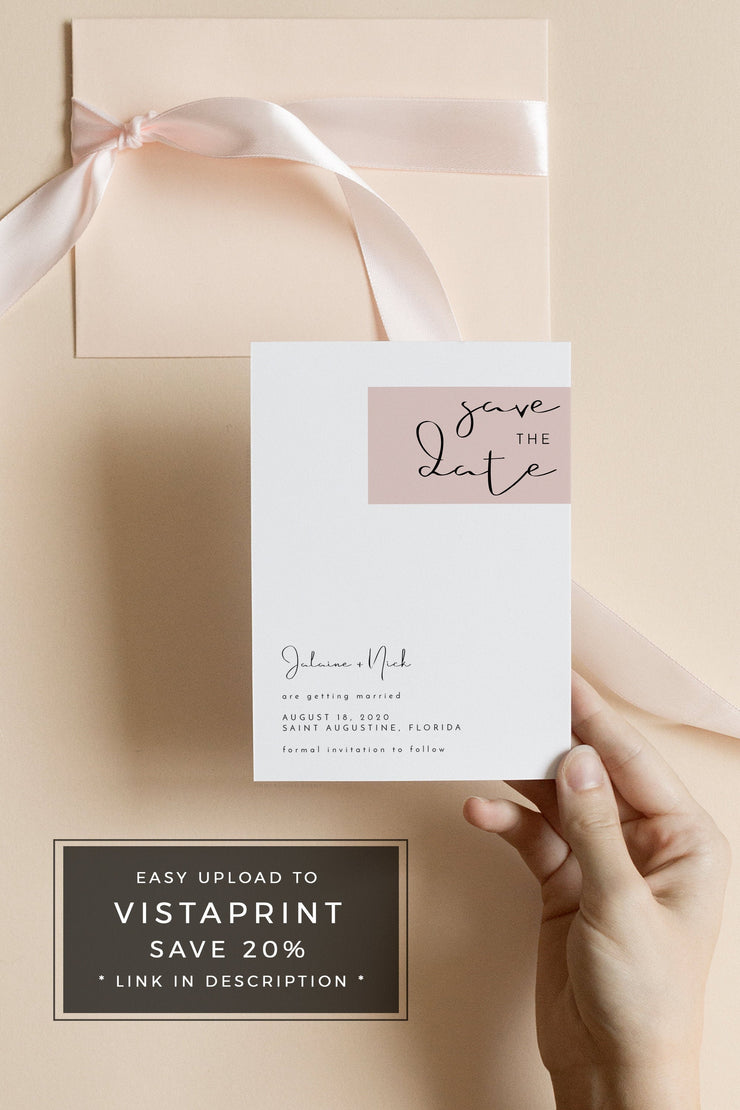 Jalaine - Modern Blush Wedding Save the Date Template - Unmeasured Events
