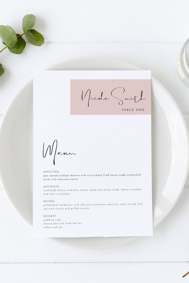 Jalaine - Modern Blush Wedding Menu + Place Card Template Instant Download