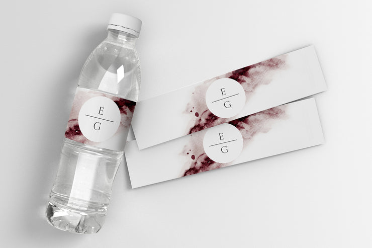 Scarlett - Abstract Burgundy Watercolor Water Bottle Label Template - Unmeasured Events
