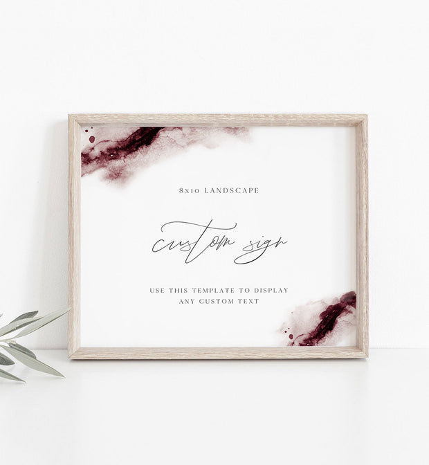 "Scarlett - Abstract Burgundy Watercolor Wedding Custom 8x10"" Sign Template - Unmeasured Events"