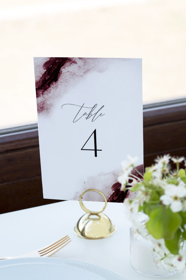 Scarlett - Abstract Burgundy Watercolor Wedding Table Number Template