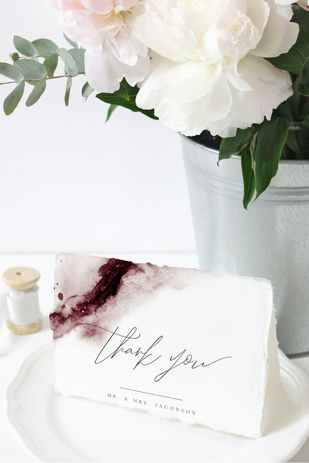 Scarlett - Abstract Burgundy Watercolor Thank You Card Template