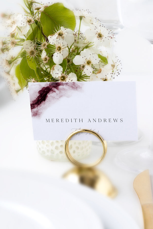Scarlett - Abstract Burgundy Watercolor Wedding Place Cards Template