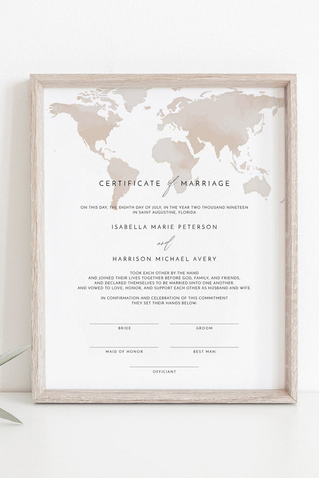 Carmen - Watercolor Map Destination Wedding Marriage Certificate Template