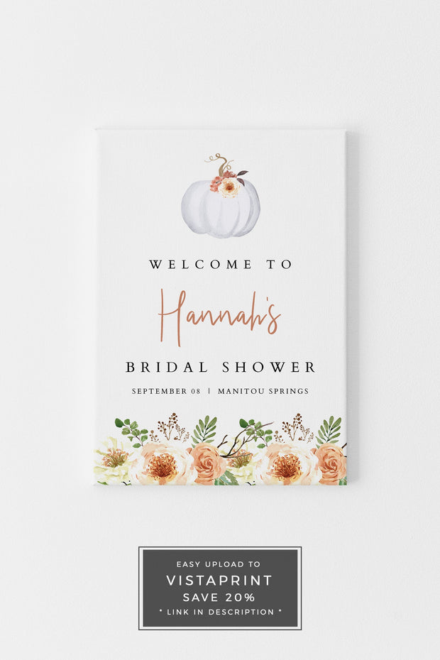 Amber - Fall Pumpkin Bridal Shower Welcome Sign Template - Unmeasured Events