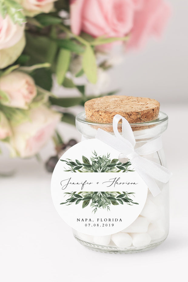 Lana - Greenery Wedding Round Favor Tag Template