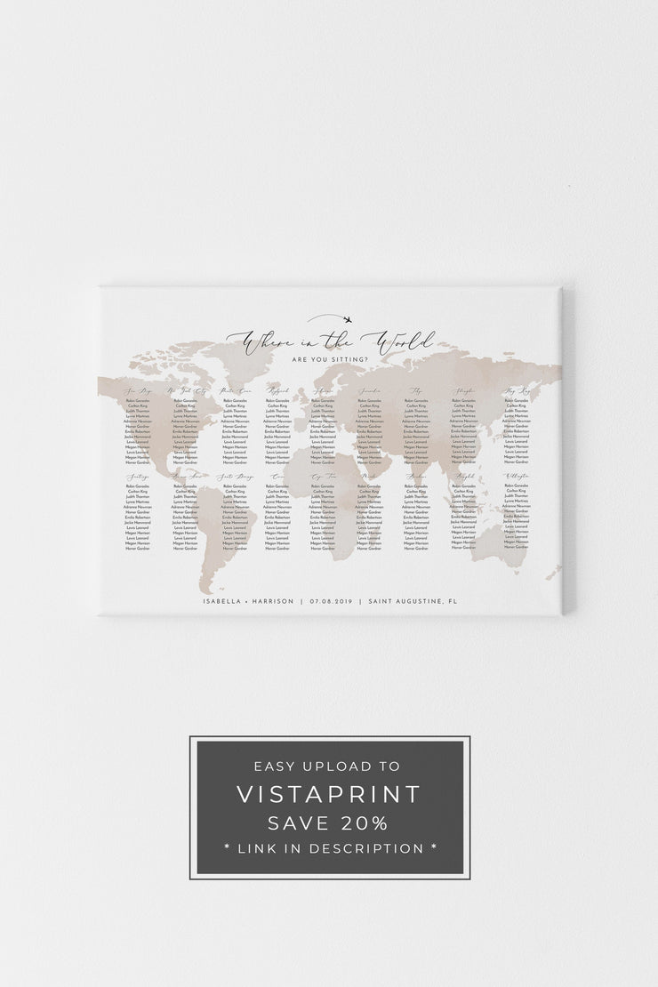 Carmen - Watercolor Map Wedding Seating Chart Template - Unmeasured Events