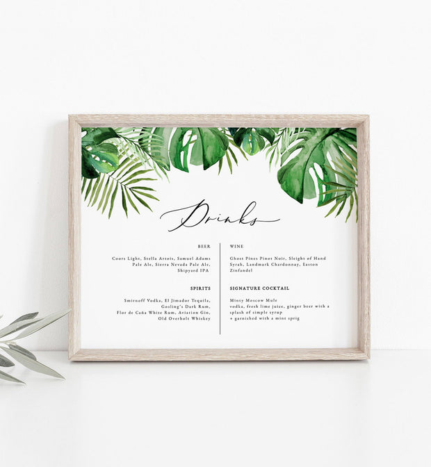 Cora - Modern Palm Tropical 8X10 Drink Menu Template