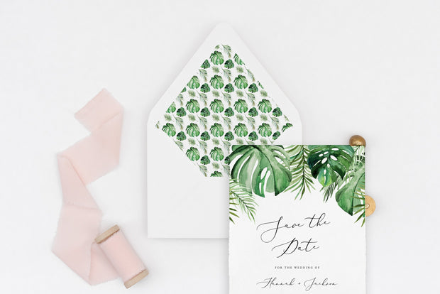 Cora - Modern Palm Tropical Wedding Envelope Liner Template