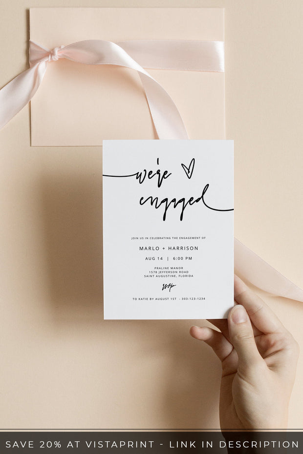 Marlo - Bold Contemporary Engagement Party Invitation Template - Unmeasured Events