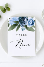 Milena - Dusty Blue Floral Wedding Table Number Template Printable - Unmeasured Events
