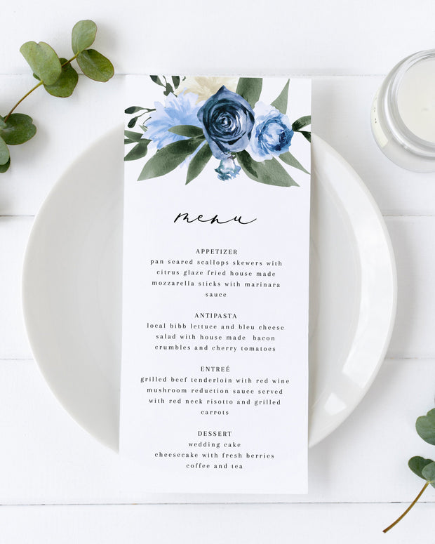 Milena - Dusty Blue Floral Wedding Menu Template Printable - Unmeasured Events