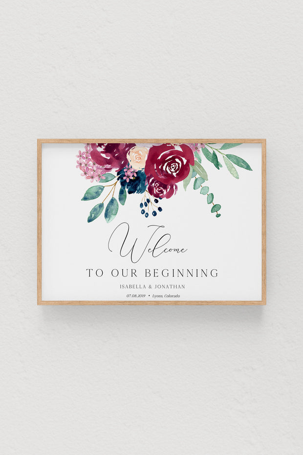 Bella - Marsala Floral Wedding Welcome Sign Template - Unmeasured Events