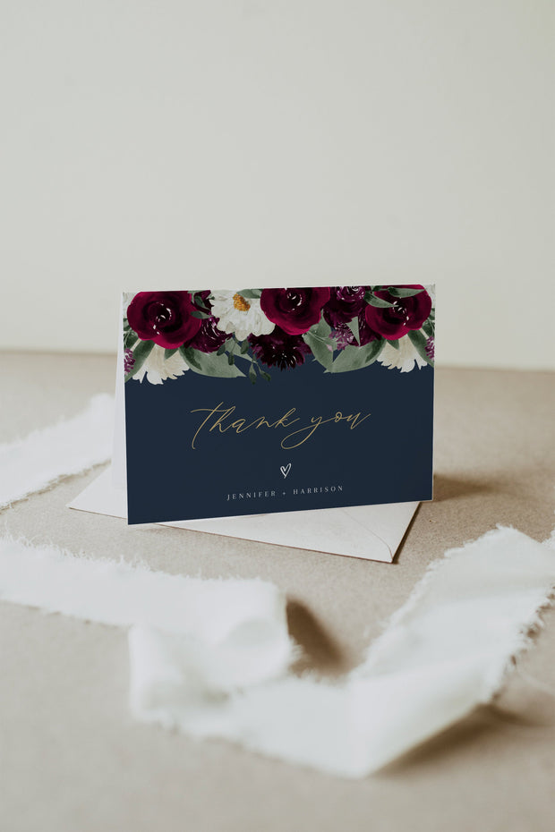 Rosa - Bordeaux Floral Wedding Thank You Card Template