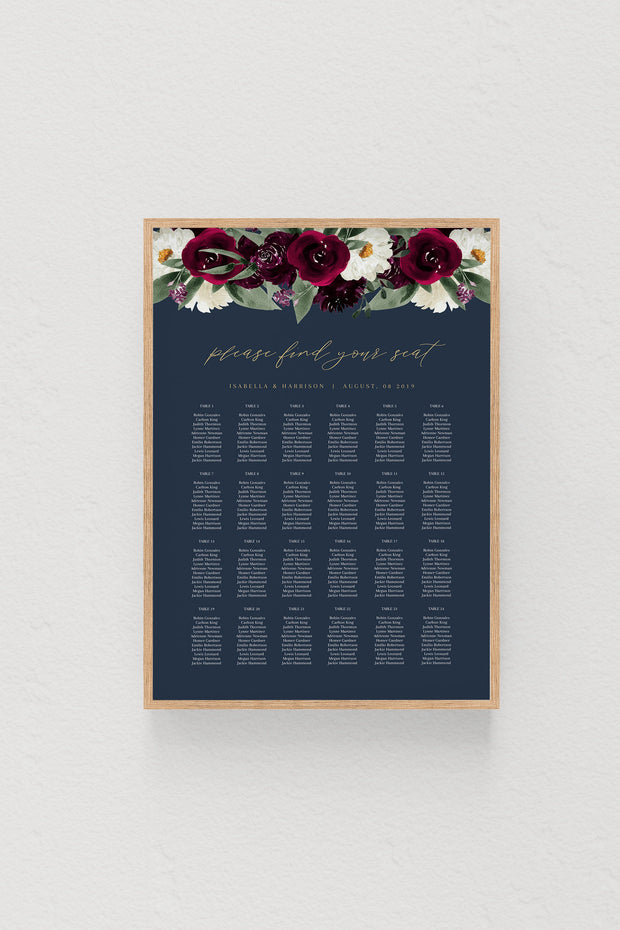 Rosa - Bordeaux Floral Wedding Table Seating Chart Template