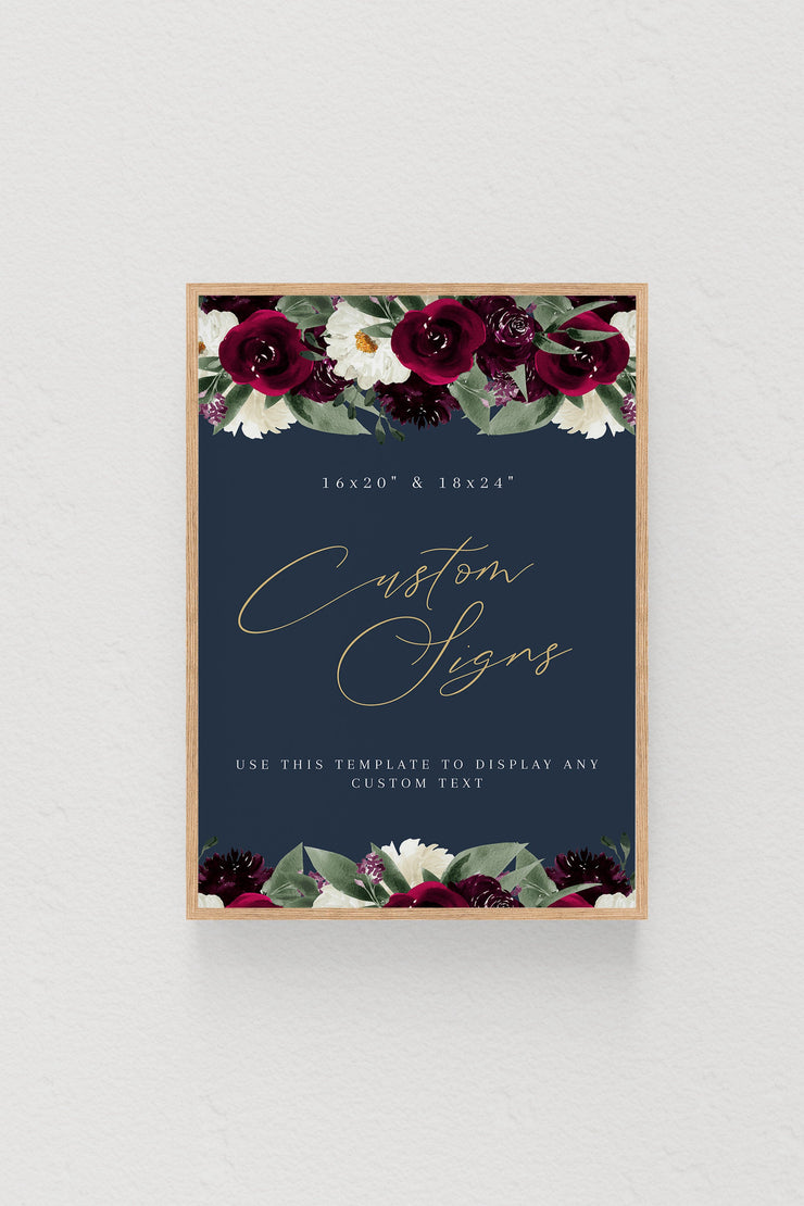 Rosa - Bordeaux Floral Large Custom Sign Template - Unmeasured Events