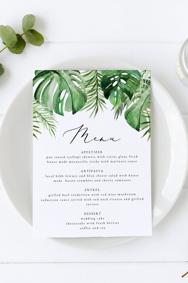 Cora - Modern Palm Tropical Wedding Menu Template