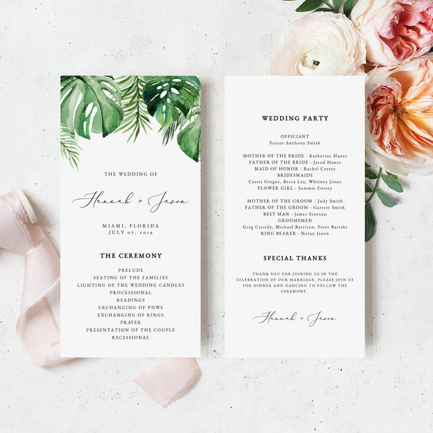 Cora - Modern Palm Tropical Wedding Invitation Template Bundle - Unmeasured Events