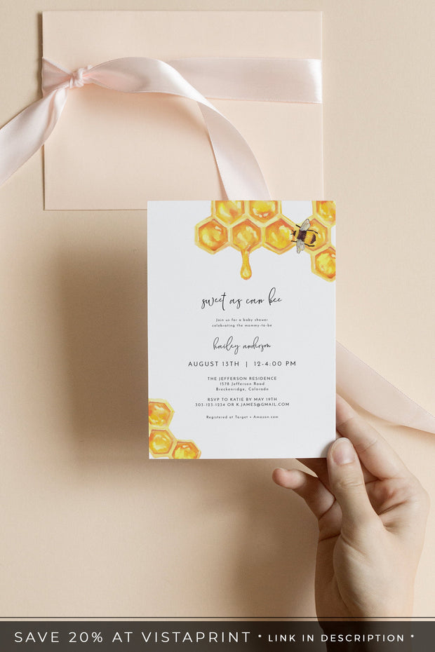 Romy - Modern Honey Bee Baby Shower Invitation Template - Unmeasured Events